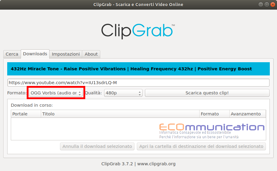 Clipgrab scaricamento del video in formato audio