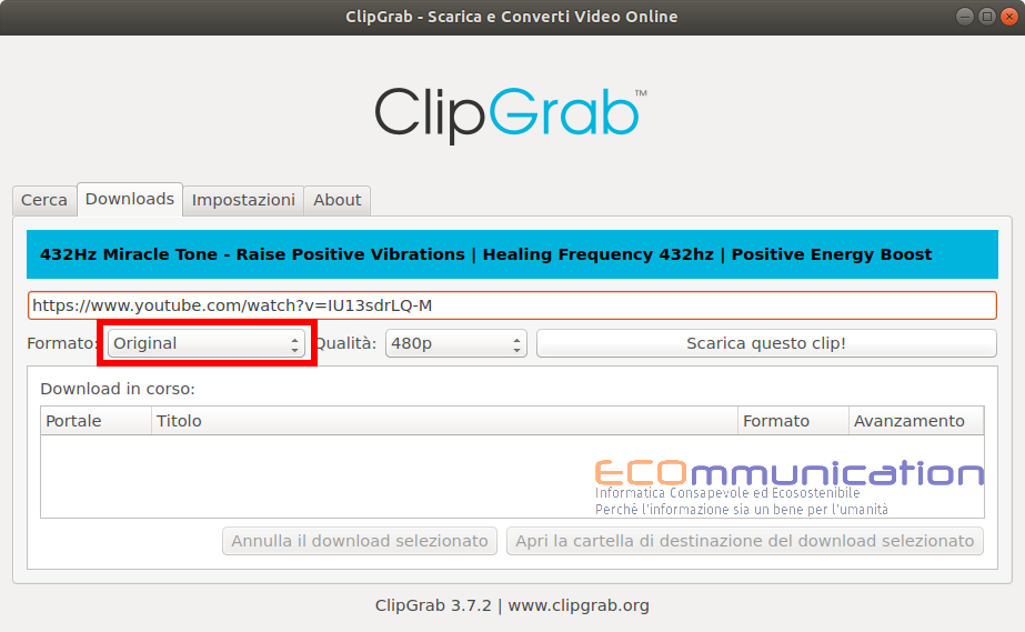 Clipgrab scaricamento del video in formato originale