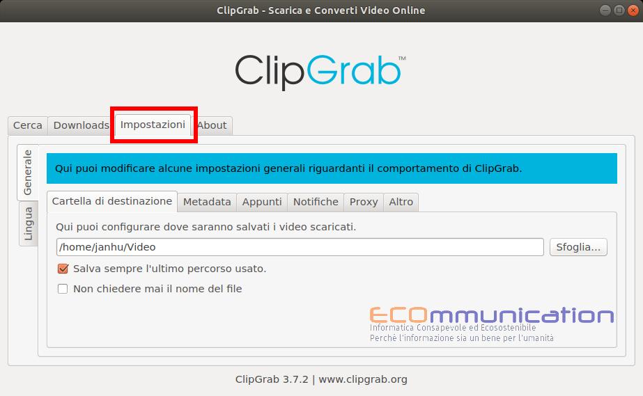 ClibGrab per scaricare file video e audio da Youtube, Facebook e