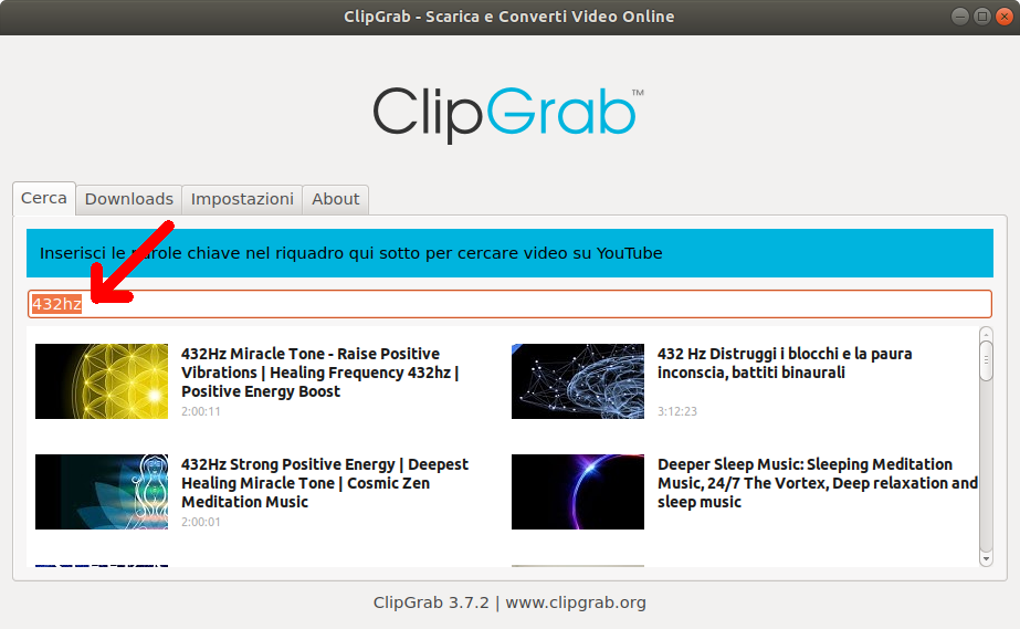 Ricerca su youtube con clipgrab
