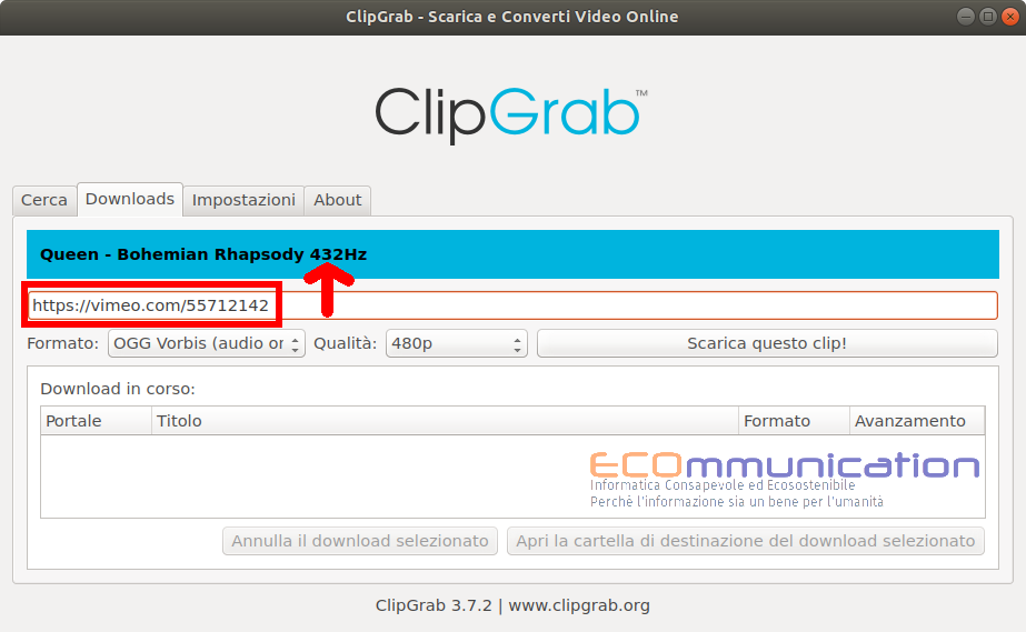 Clipgrab scaricamento del video da vimeo